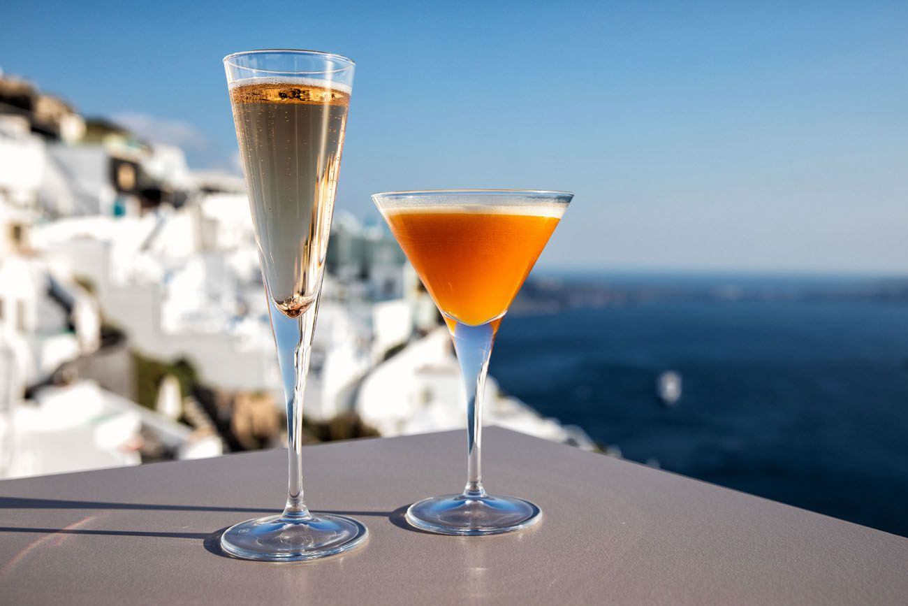Cocktails in Santorini
