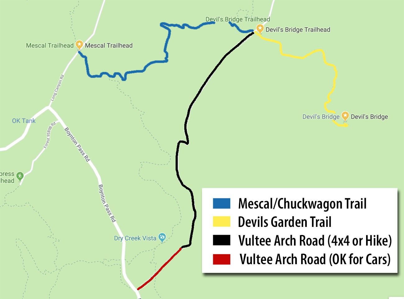Map to Devils Bridge