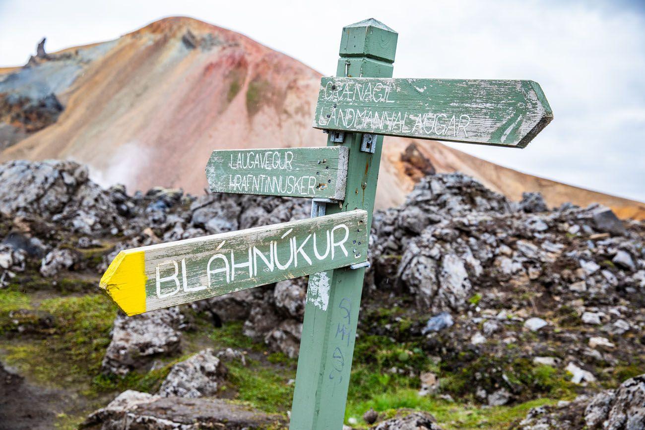 Landmannalaugar Trail Sign