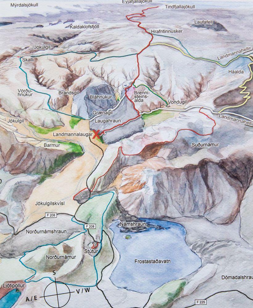 Map Landmannalaugar