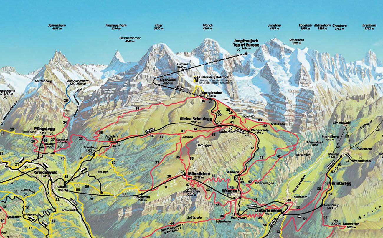 Map Switzerland Jungfrau