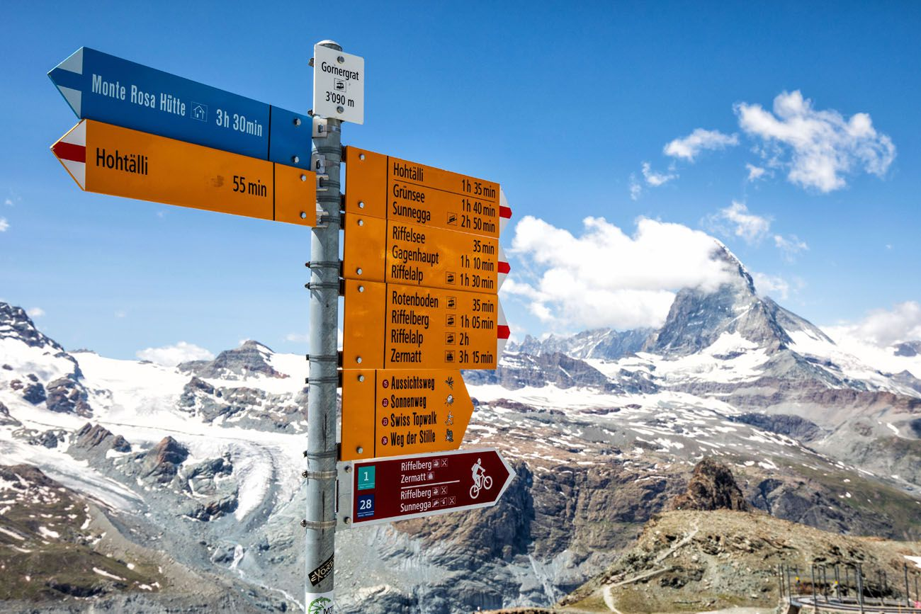 Zermatt Hiking Trail Sign