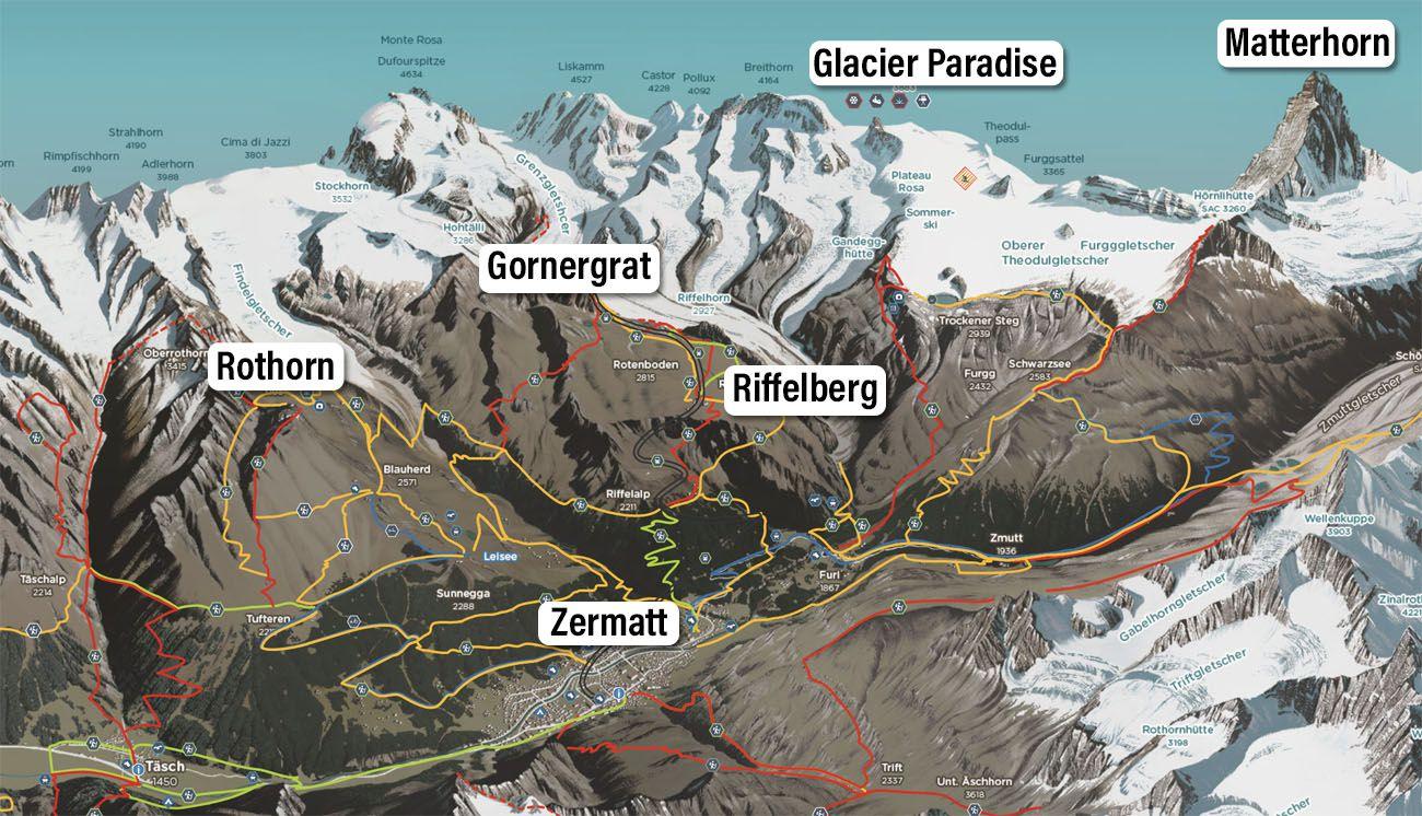 Zermatt Peaks Map