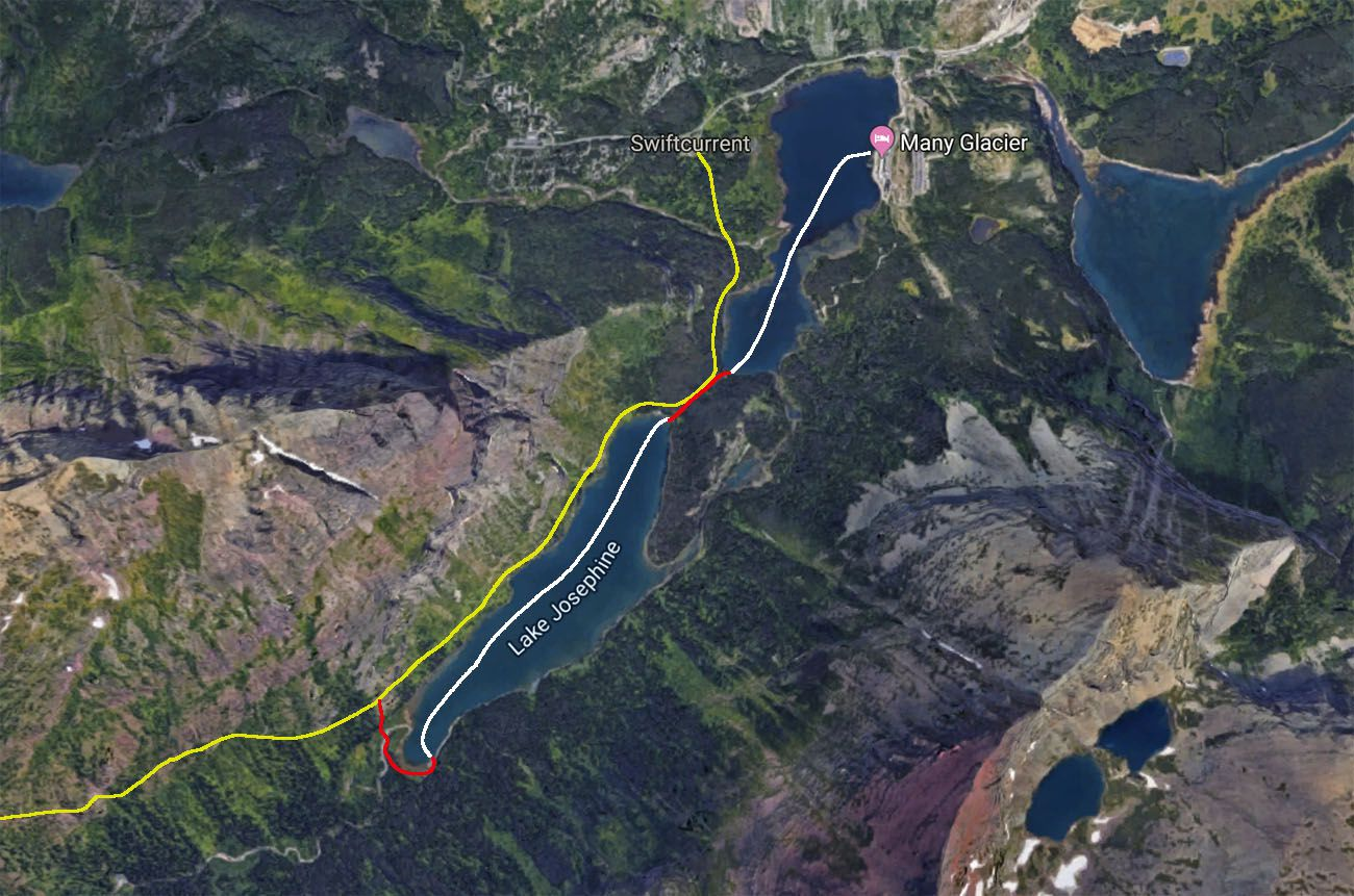 Boat shuttle map Grinnell Glacier