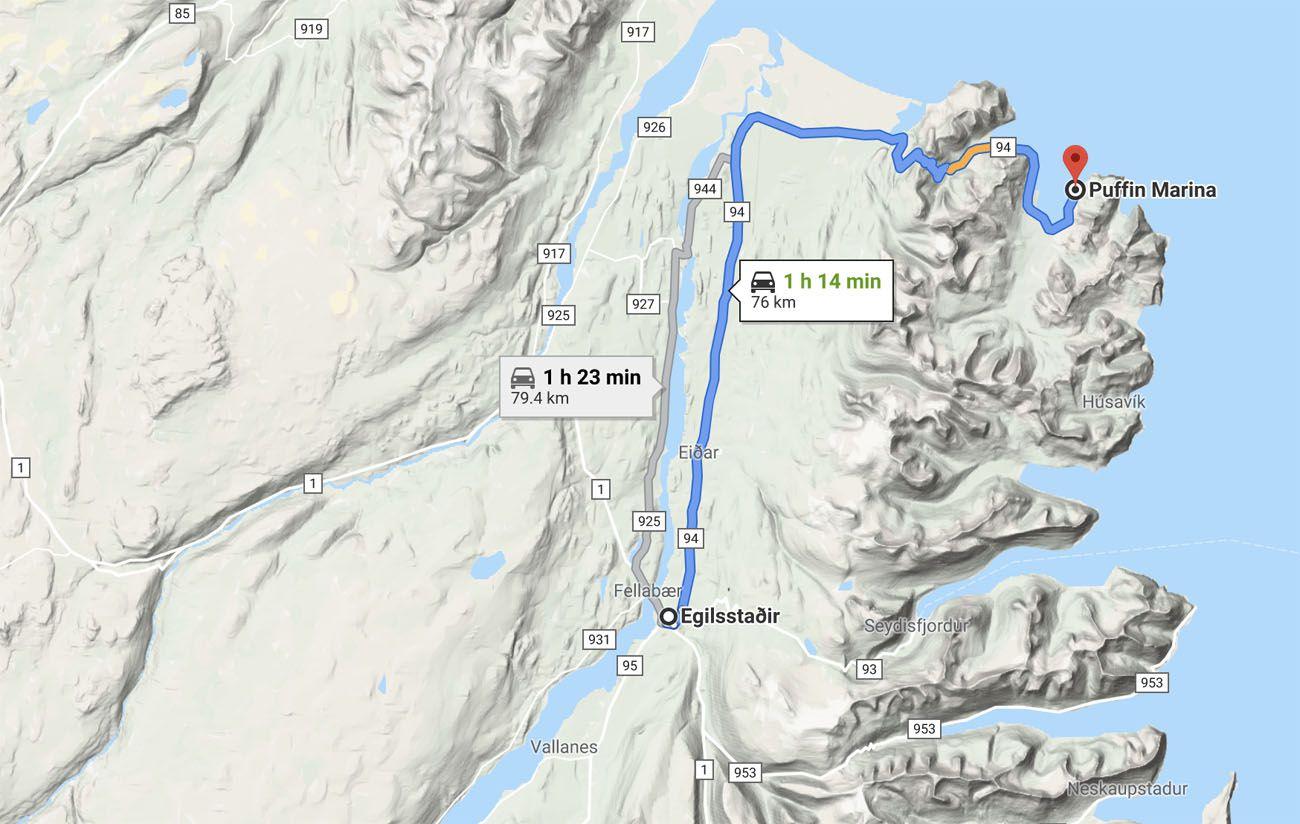 Directions to Borgarfjörður Eystri