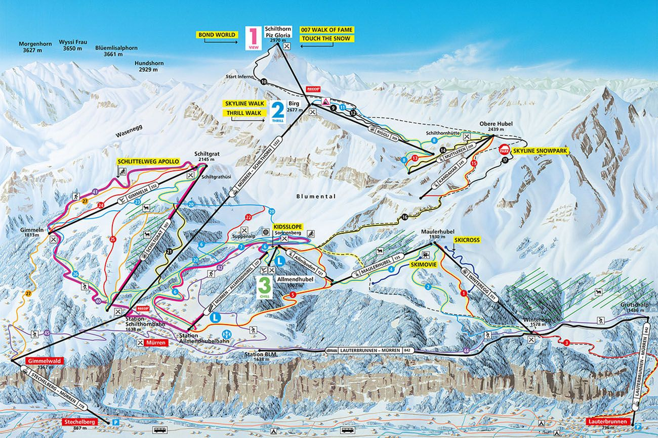 Map Switzerland Schilthorn Birg