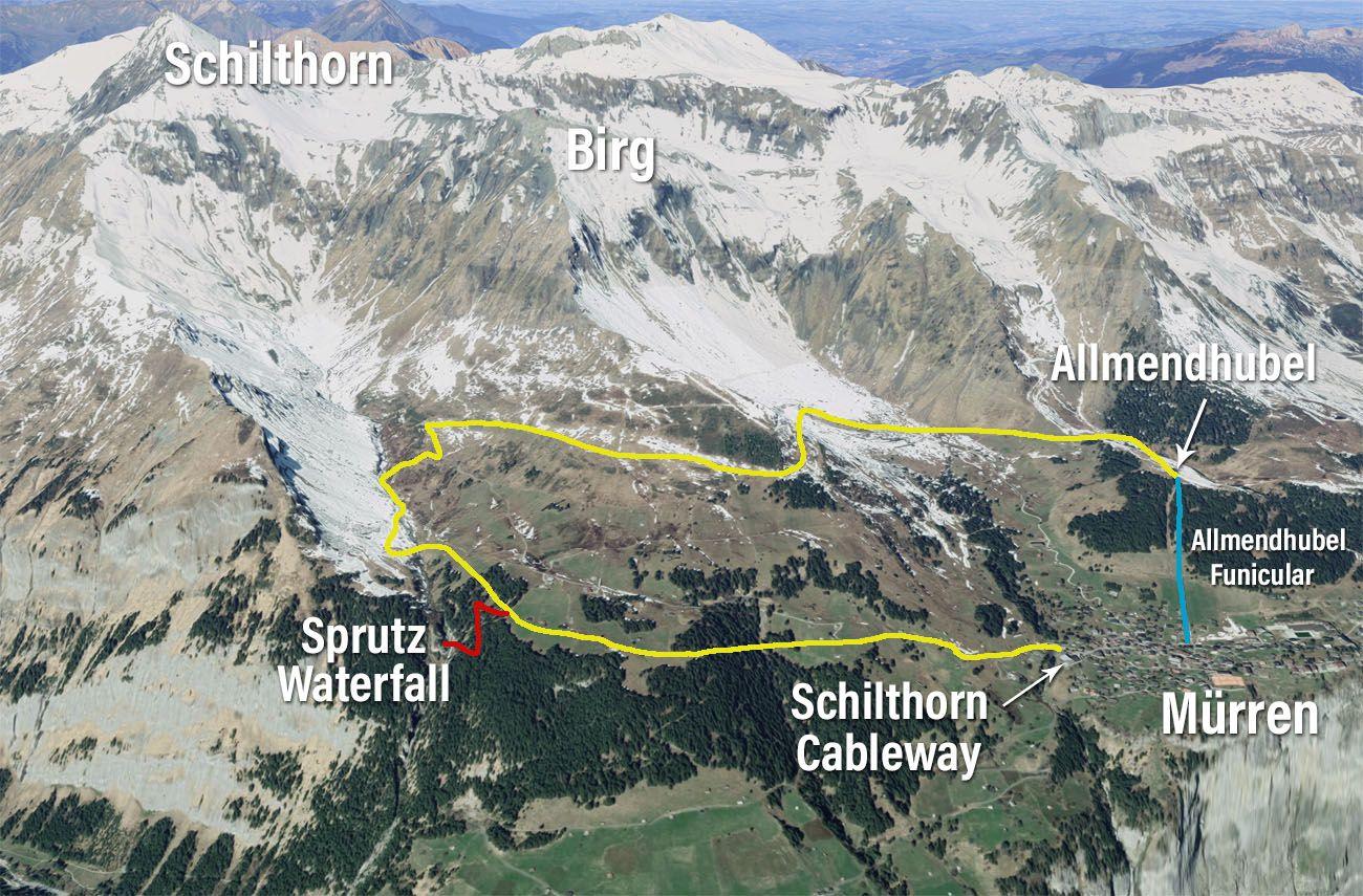 Northface Trail Map Murren Switzerland