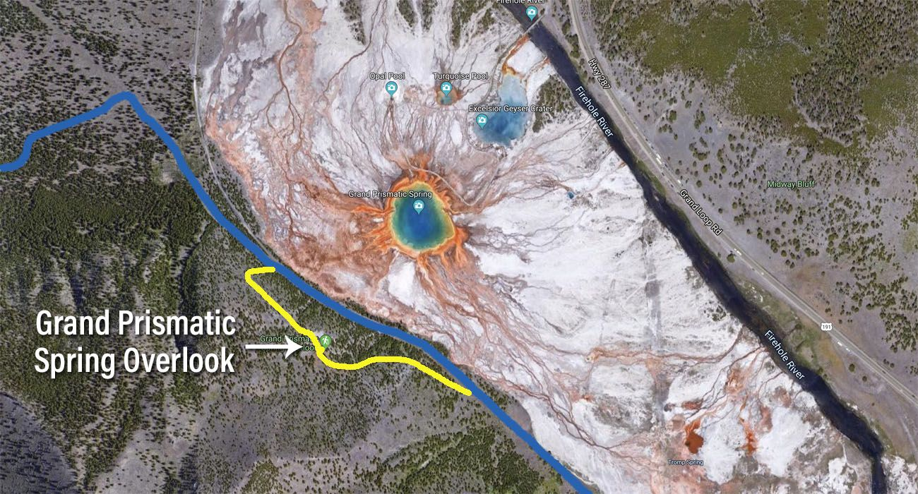 Grand Prismatic Spring Overlook Map