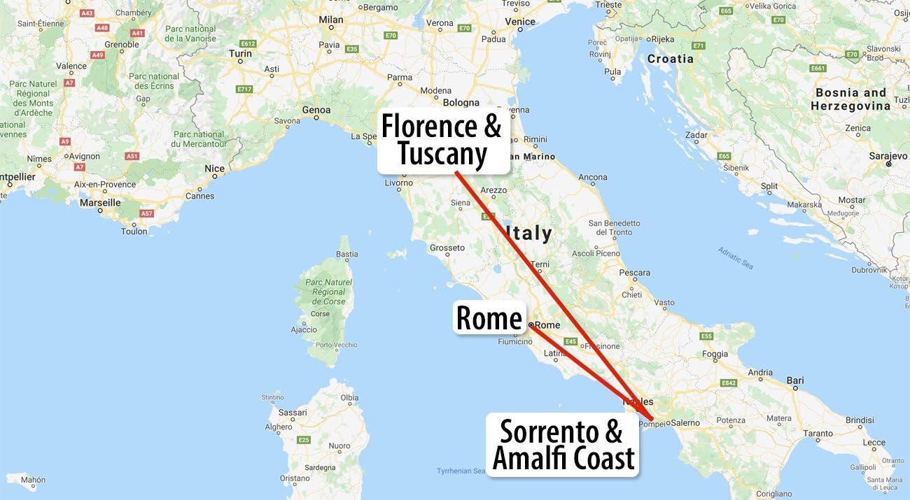 Italy Itinerary Map with Sorrento