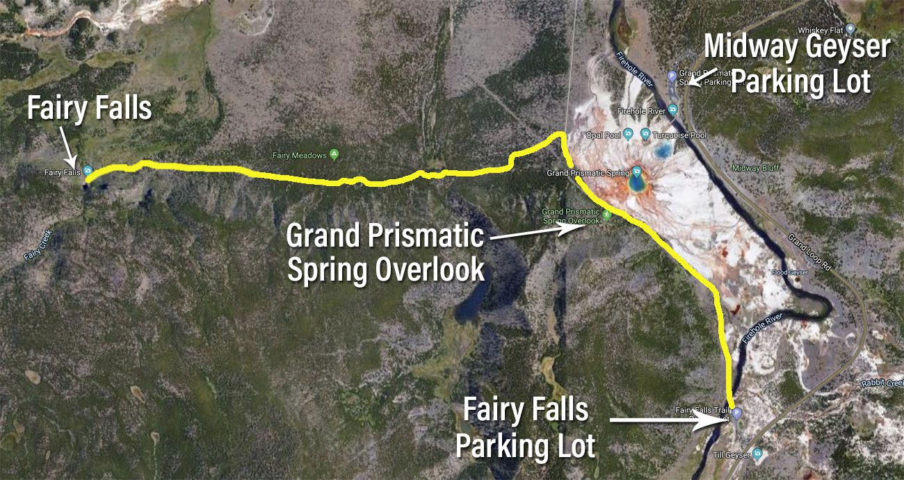 Map to Fairy Falls and Grand Prismatic Spring