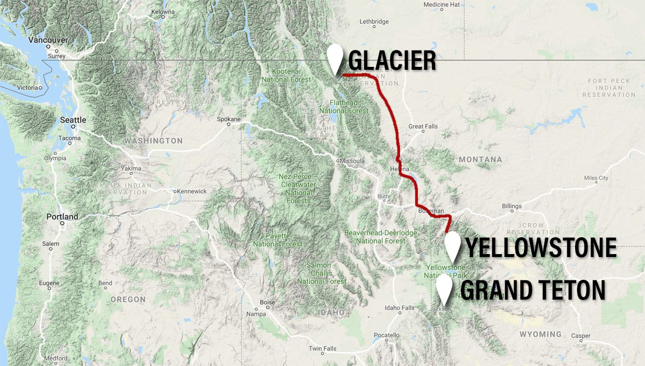 Road Trip Map Grand Teton Yellowstone and Glacier