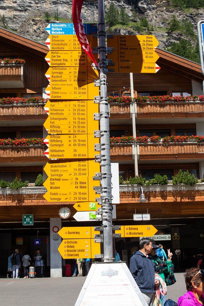 Zermatt Hiking Sign