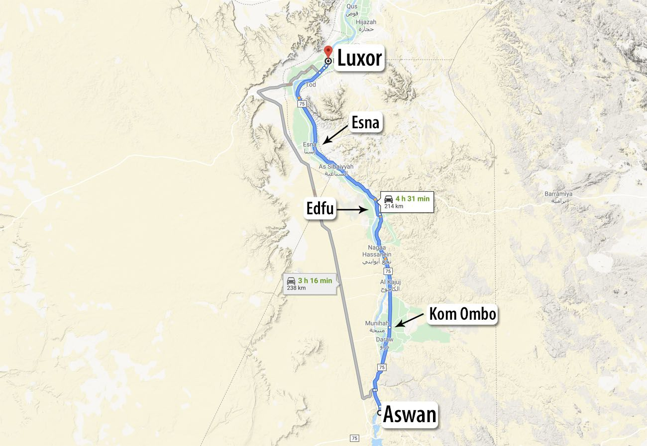 Aswan to Luxor Map Egypt