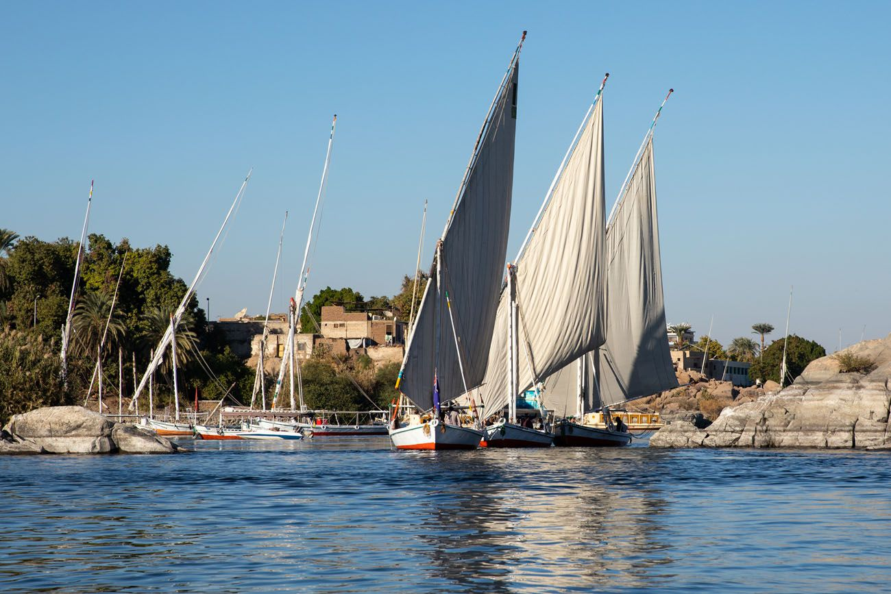 Feluccas on the Nile in Aswan