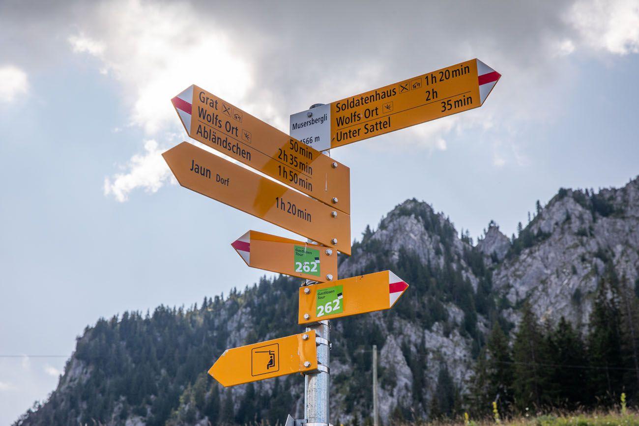 Gastlosen Hiking Sign