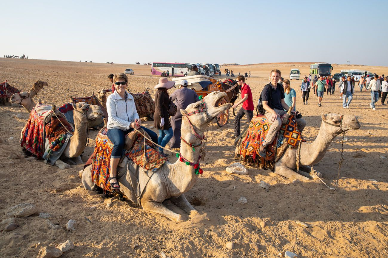 Getting on the camels