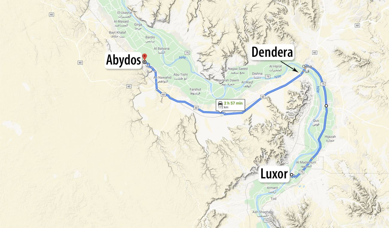 Map Luxor to Abydos