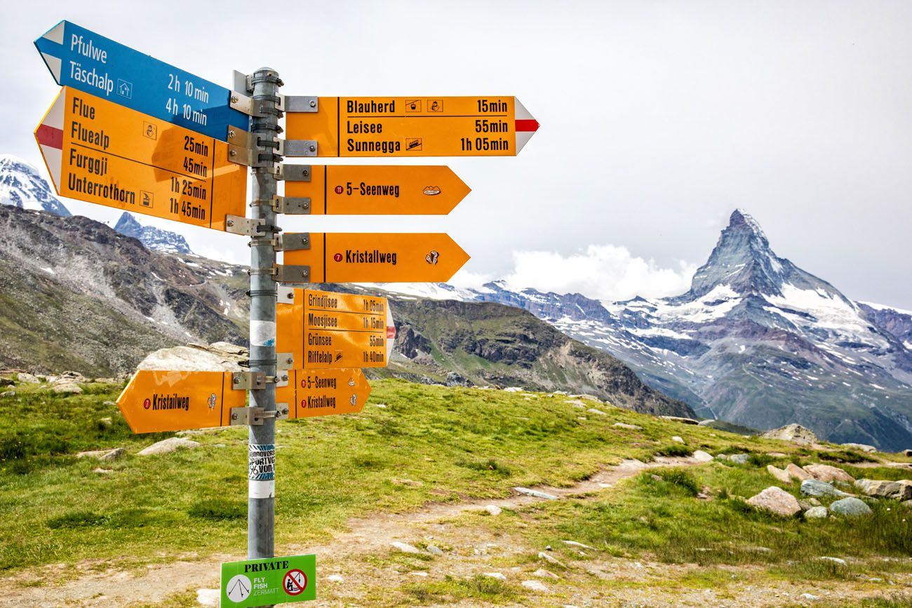 Switzerland Hiking Trail Sign