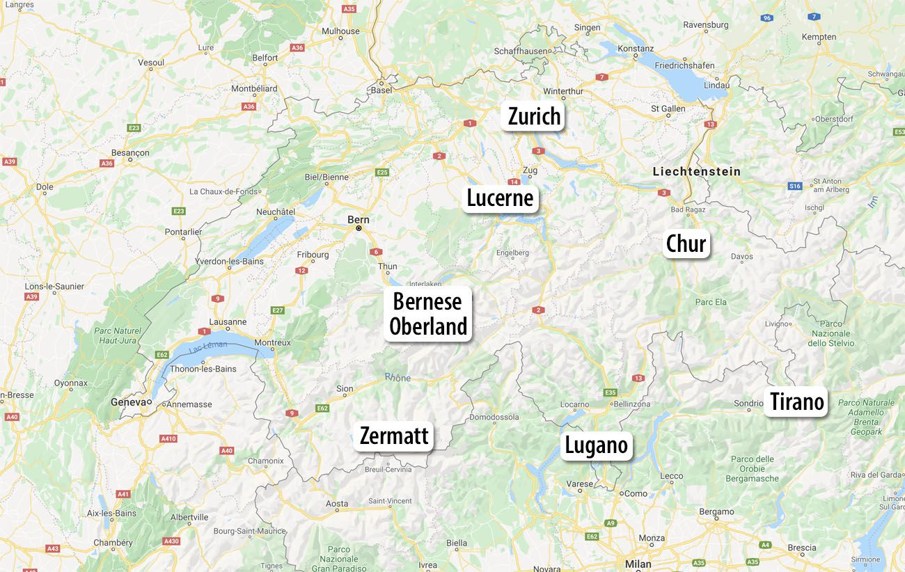 Switzerland Itinerary 10 Day Map