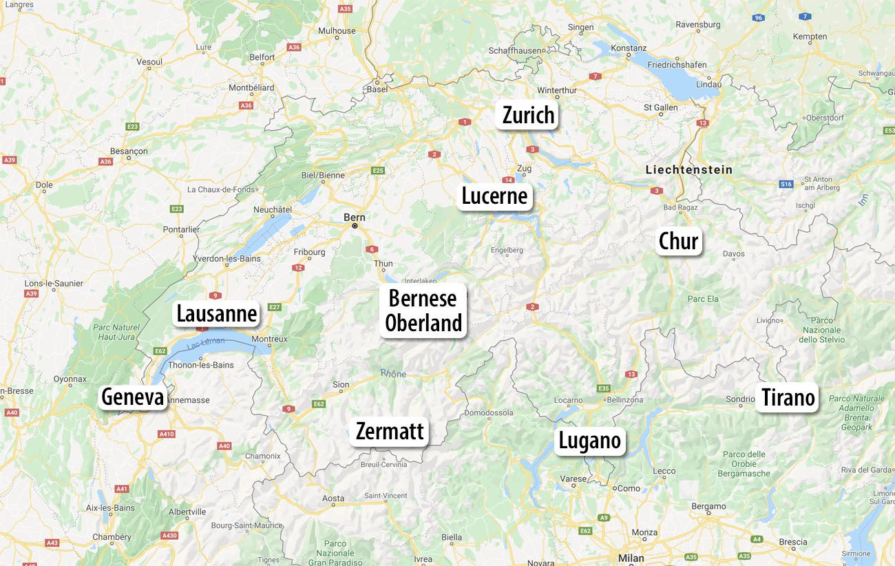 Switzerland Itinerary 21 Day Map