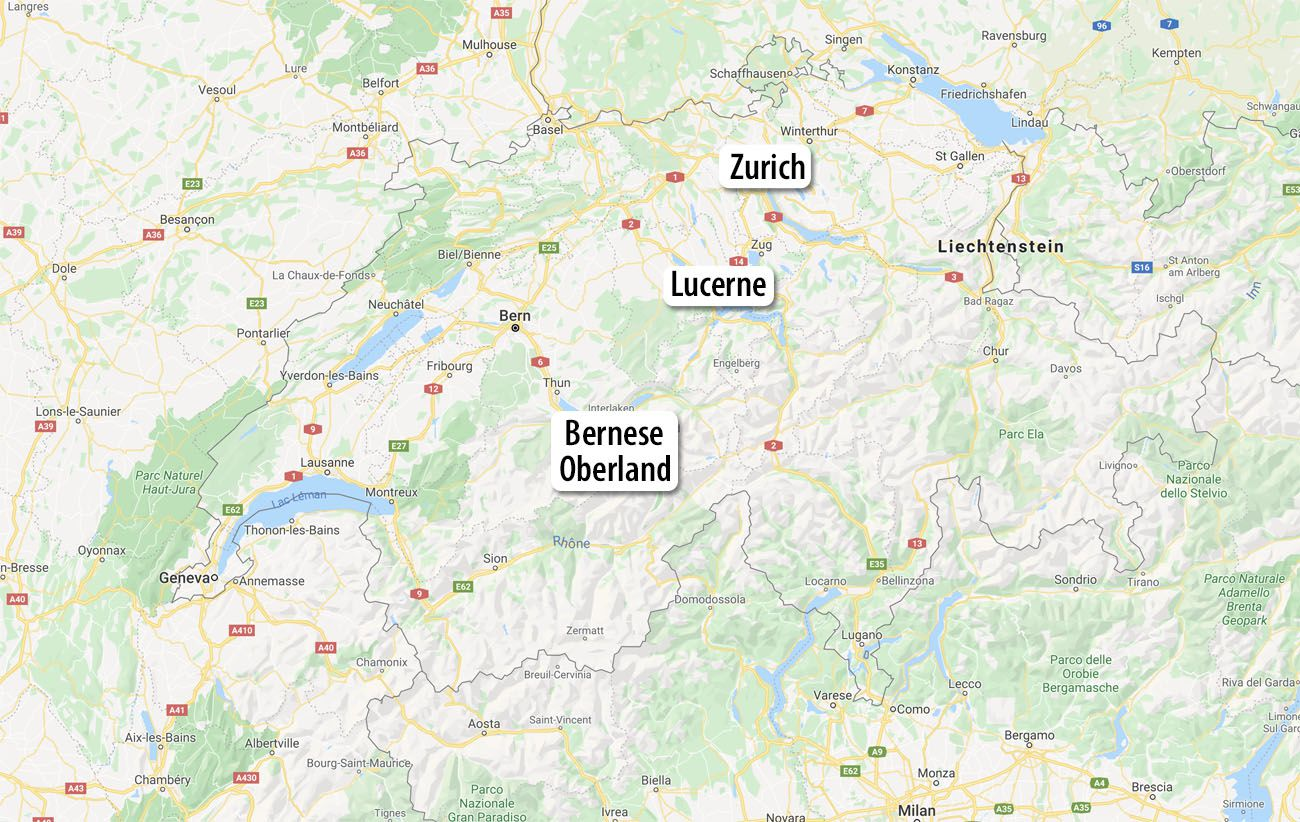Switzerland Itinerary 7 Day Map