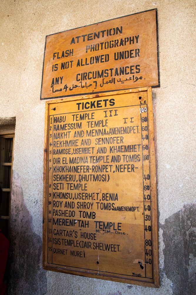 West Bank of Luxor Price List