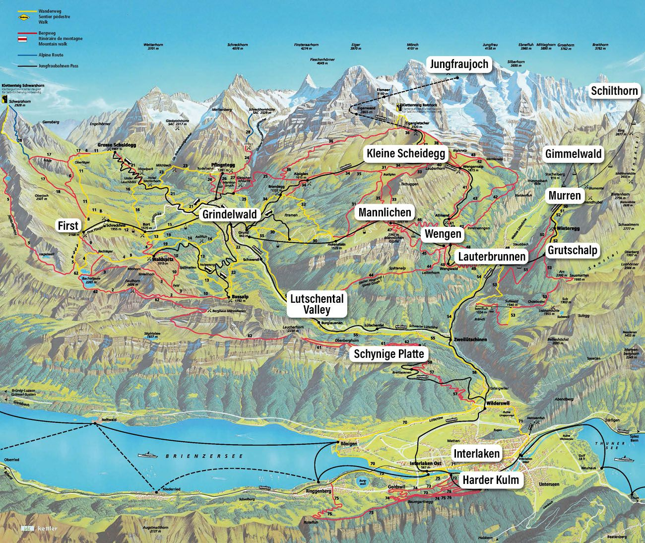 Jungfrau Map for Bernese Oberland Guide