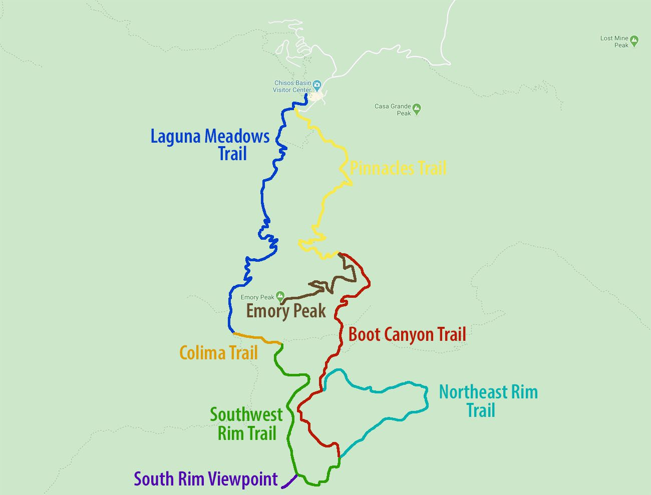 South Rim Trail Map