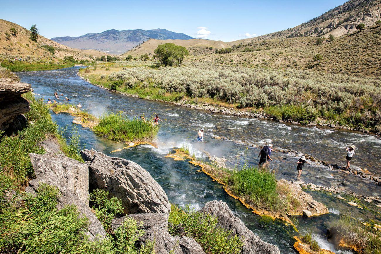 Boiling River geyser basins in Yellowstone