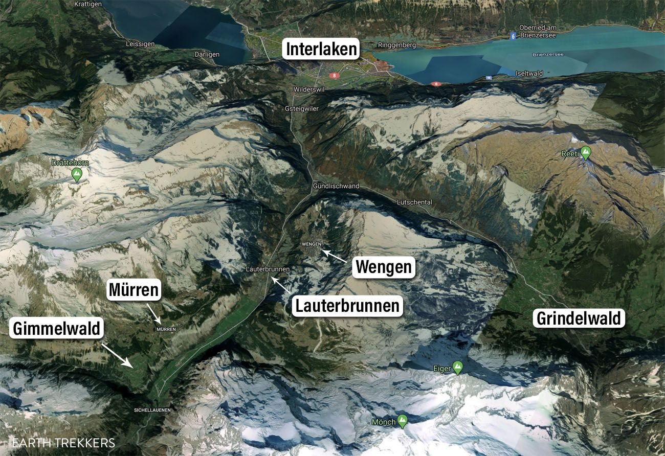 Map of Where to Stay in Jungfrau Region