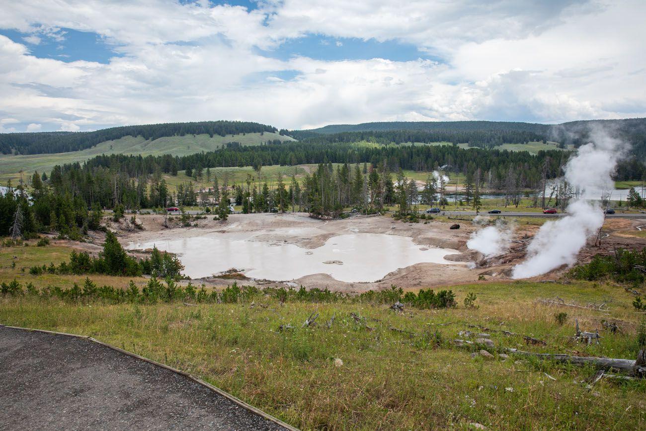 Mud Volcano geyser basins in Yellowstone