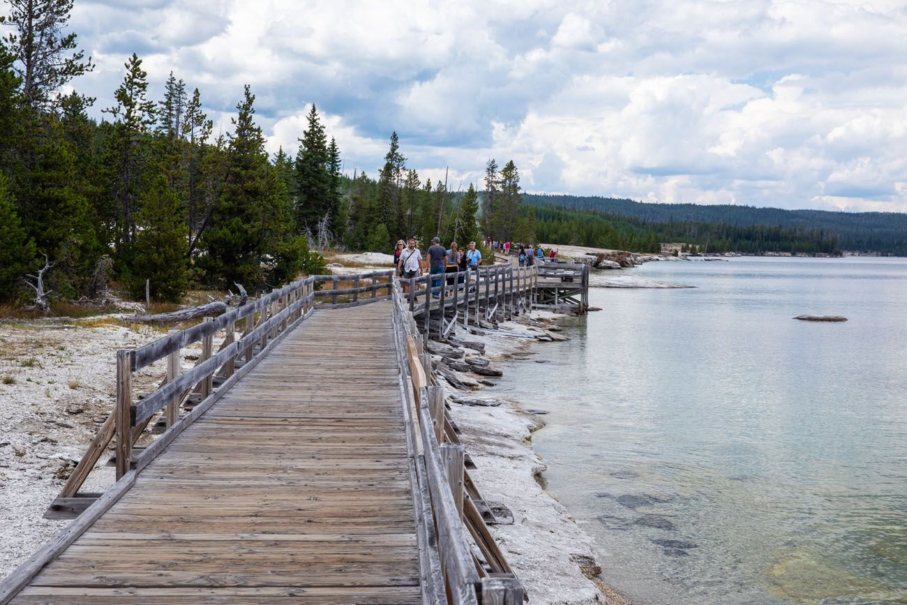 West Thumb Boardwalk geyser basins in Yellowstone
