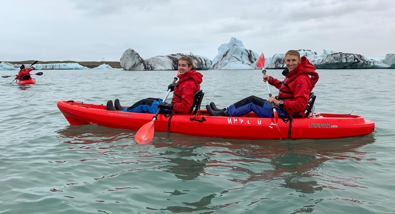 Kayak Jokulsarlon south coast of Iceland