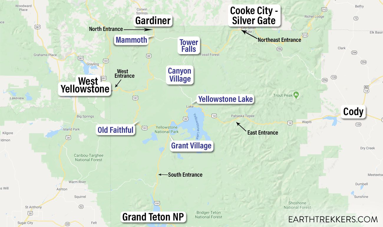 Where to Stay in Yellowstone Map