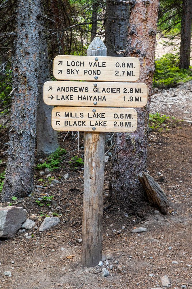 Sky Pond Trail Marker
