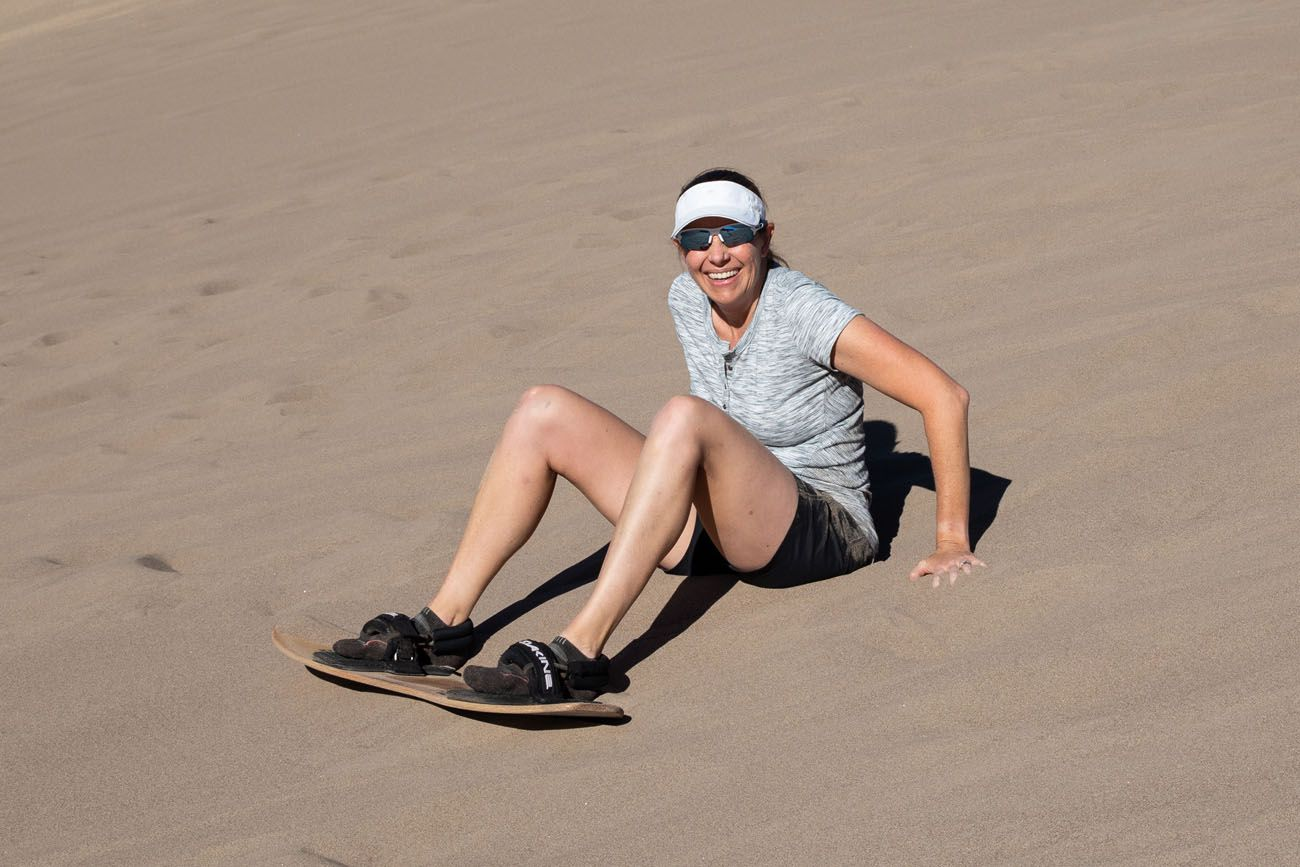 Julie Trying Sandboarding