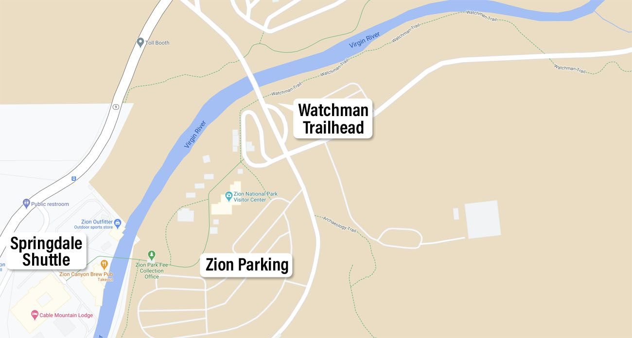 Watchman Trailhead Map