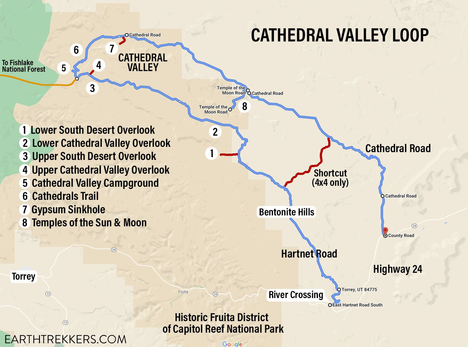Cathedral Valley Map