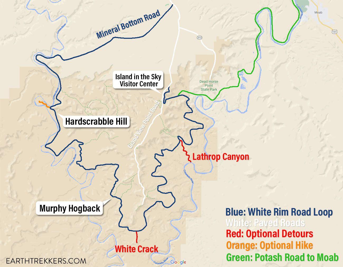 White Rim Road Map