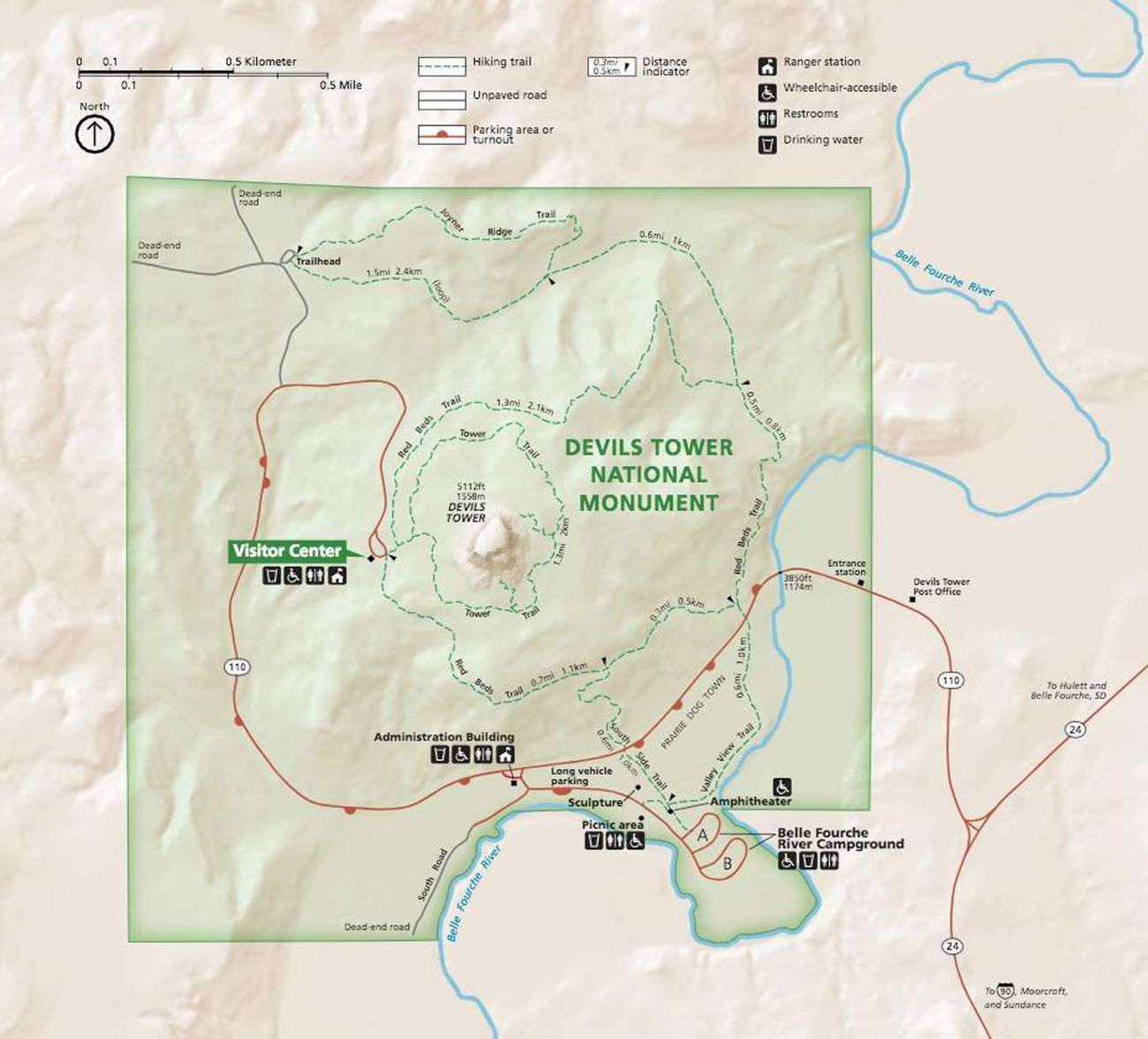 Map of Devils Tower NM