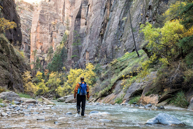 Tim Hiking the Narrows