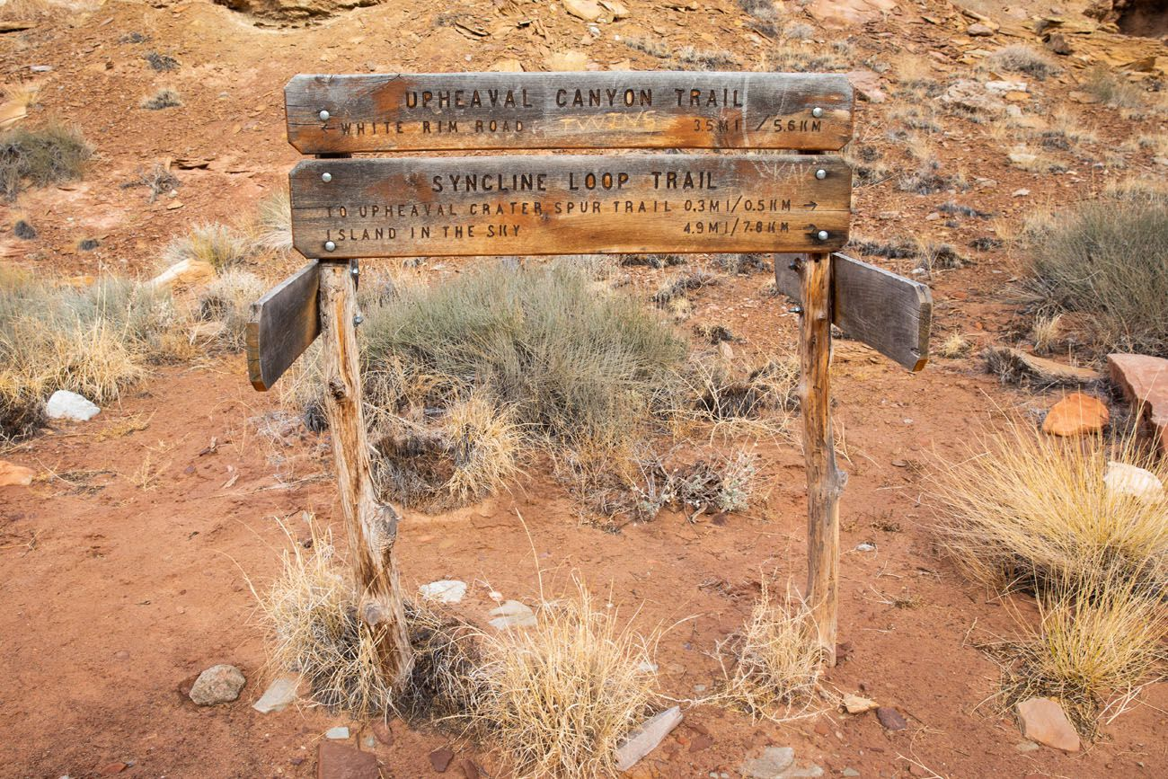 Upheaval Canyon Trail Sign