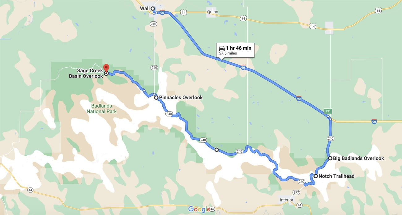 Badlands Route Map