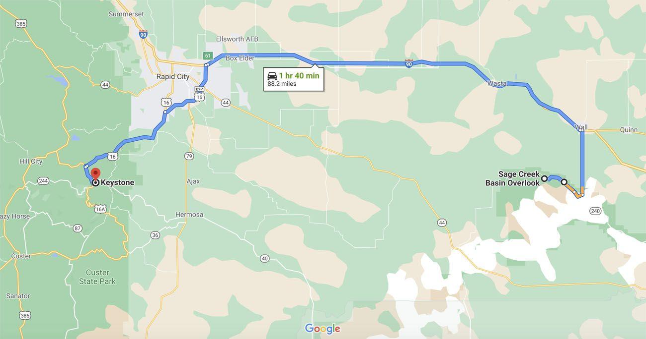 Badlands to Black Hills Map