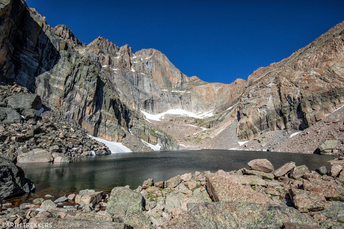 Chasm Lake one day in Rocky Mountain National Park