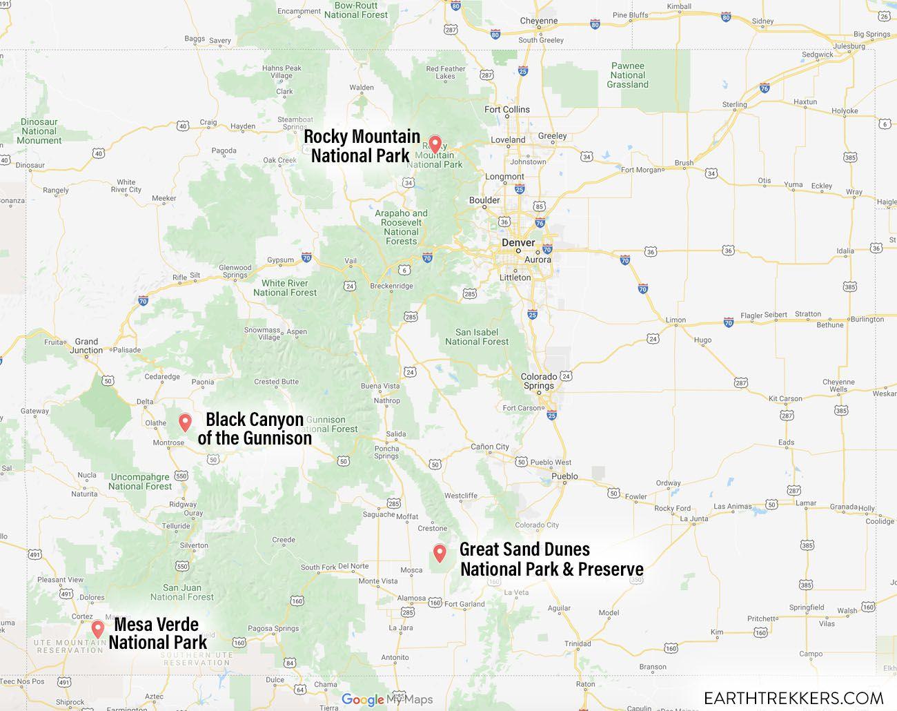 Map Colorado National Parks