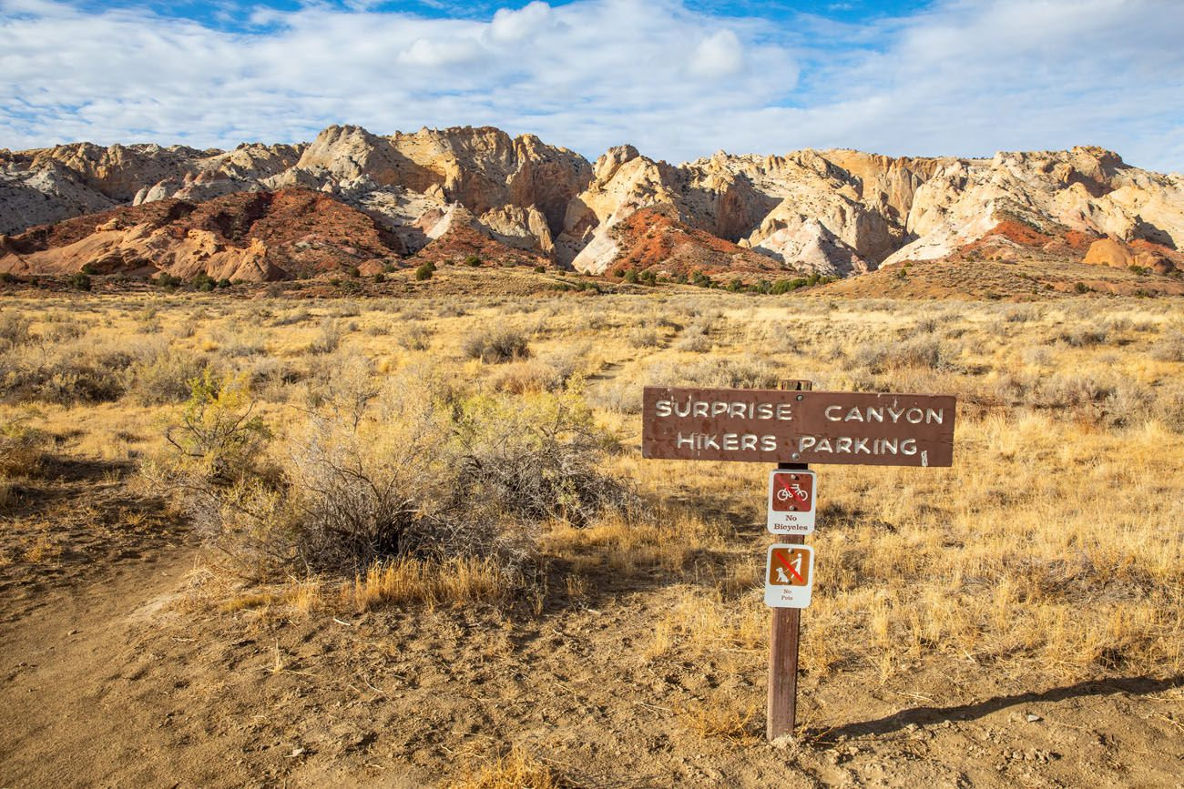 Surprise Canyon Sign best hikes in Capitol Reef