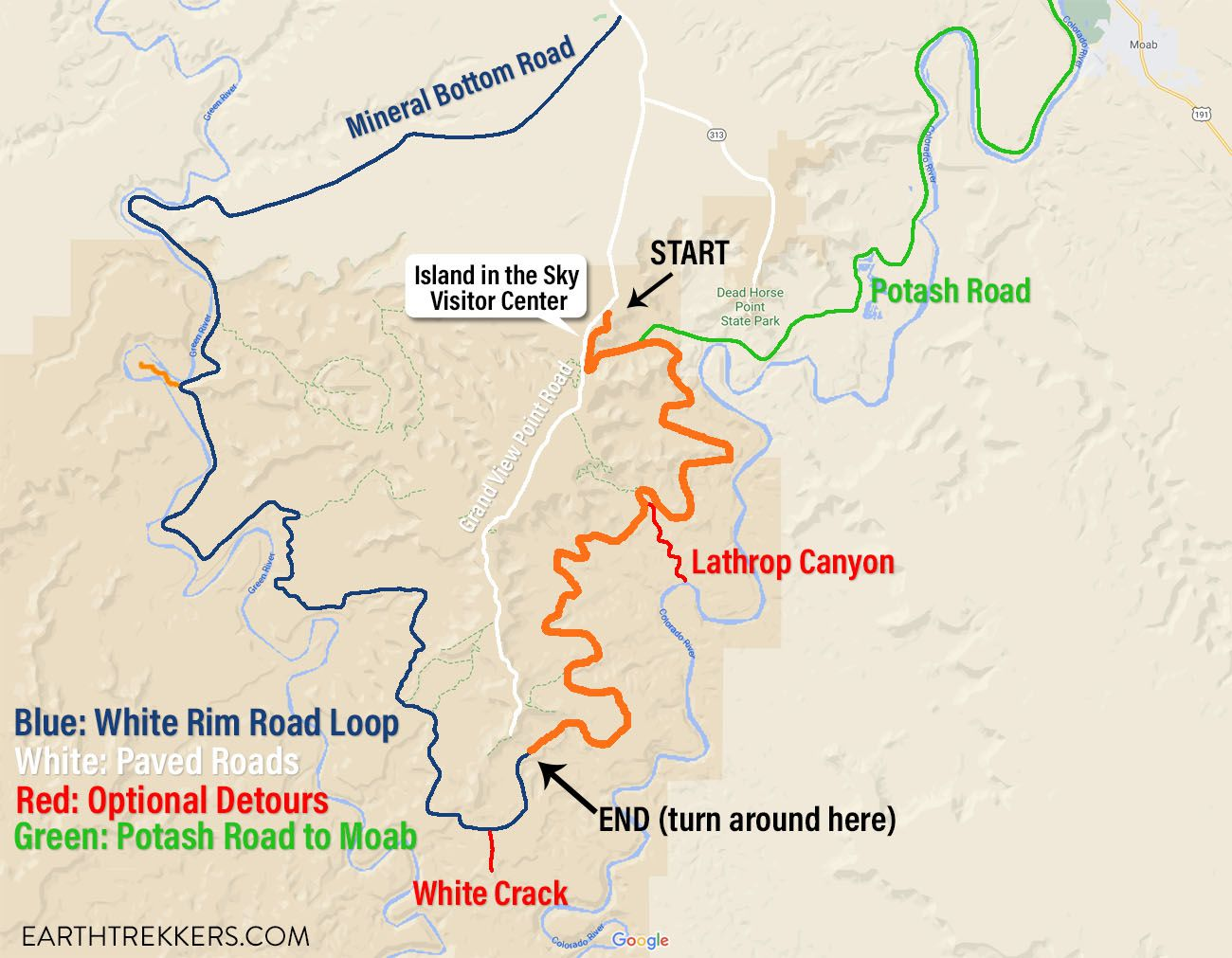 White Rim Road One Day Map