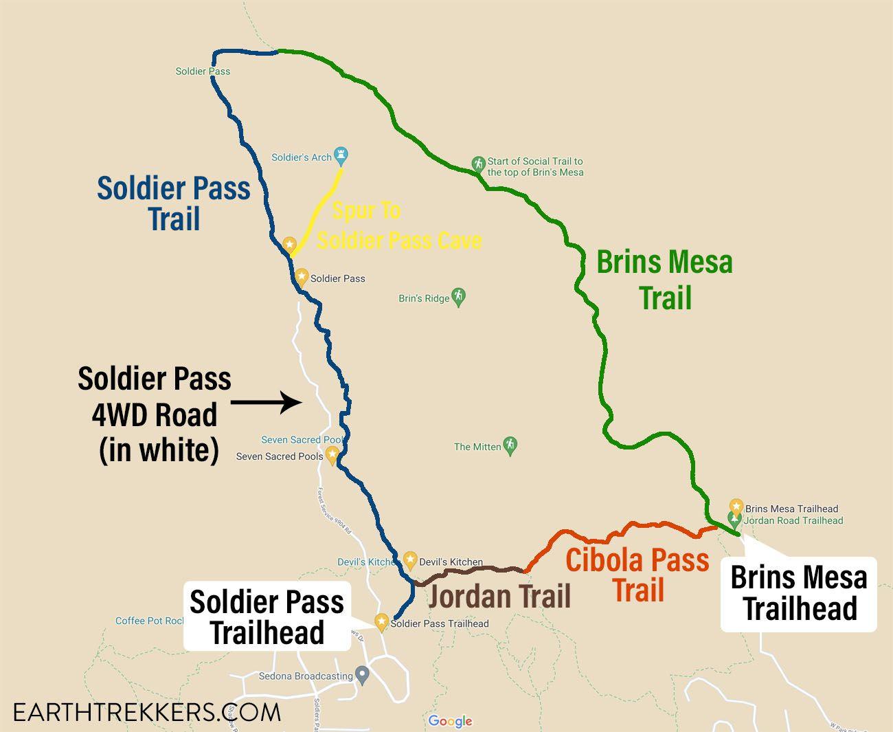Brins Mesa Soldier Pass Loop Map
