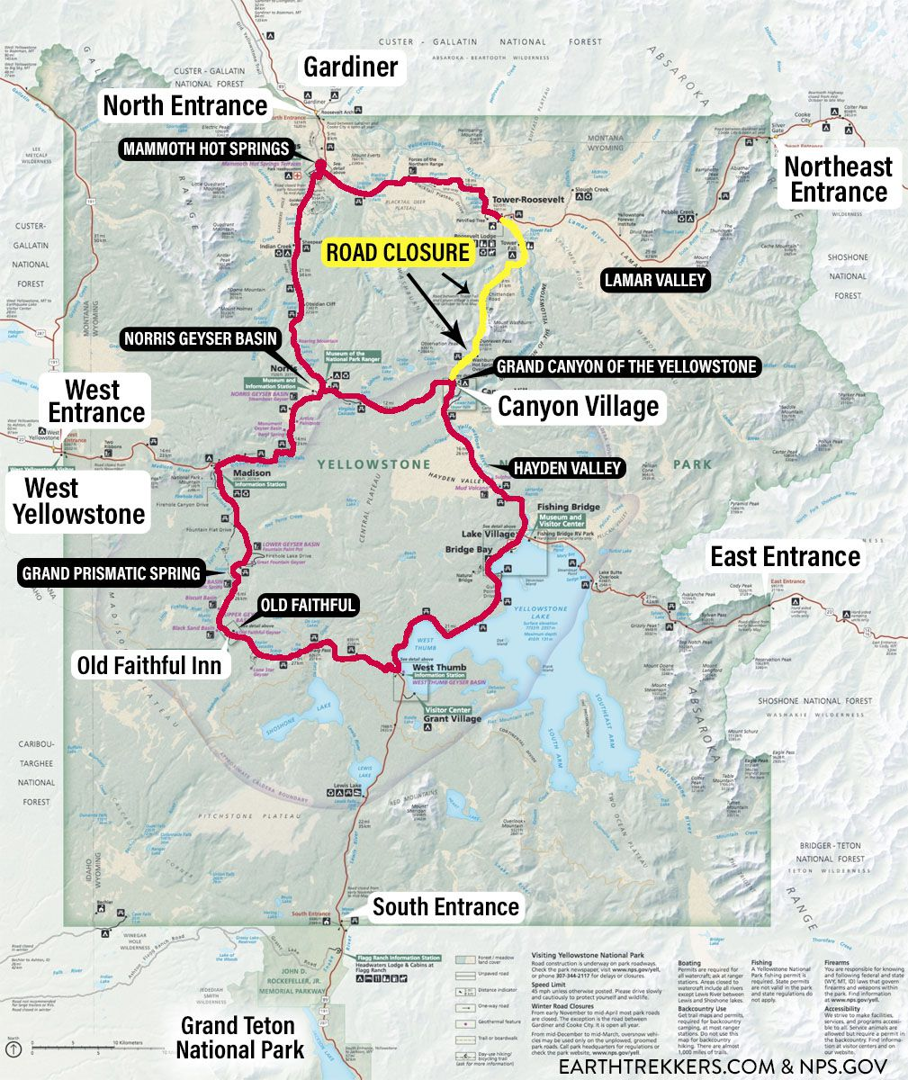 Yellowstone Road Closure Map